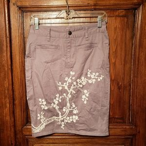 Stetson Embroidered Mini Skirt Gray Floral sz 0